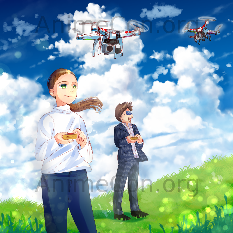 Erica and Ryan playing Quadcopters