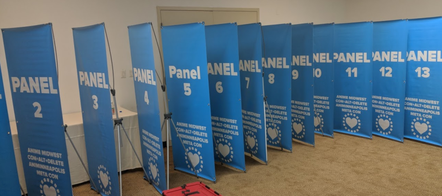 Banners and Stands for panel rooms
