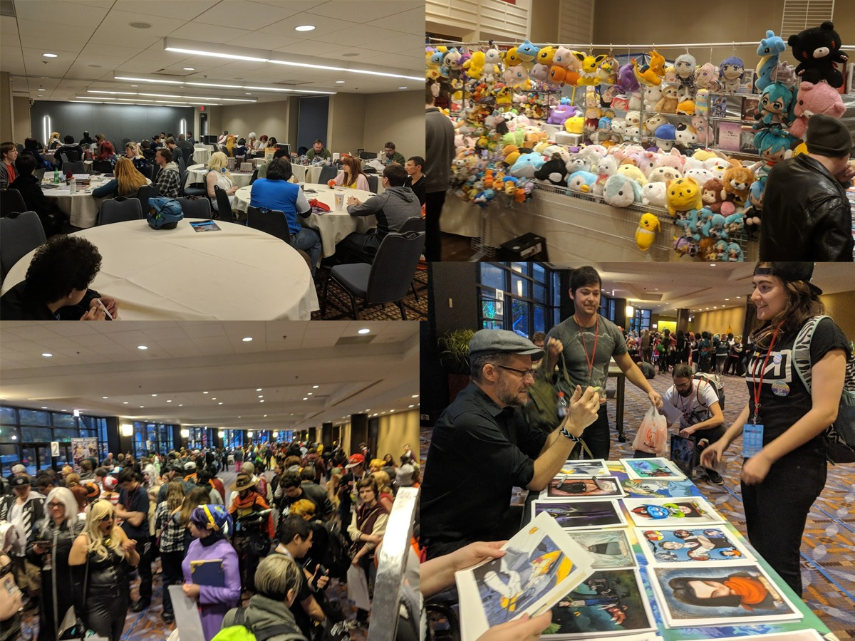 Collage of photos of con